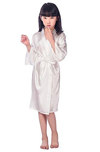 Joyplay Kinder Kids Satin Seide Kimono Robe Bademantel Morgenmantel Nachtwäsche für Spa Hochzeit Geburtstagsparty Kleid Bademantel Schlafanzug Nachthemd Weiß S