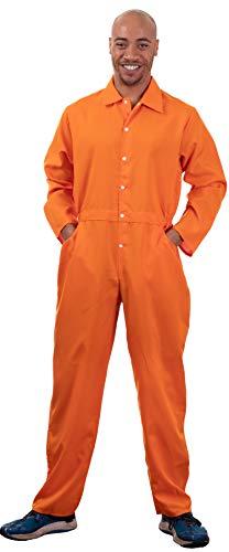Ann Arbor T-shirt Co. Prisoner Jumpsuit | Orange Prison Inmate Halloween Costume Unisex Jail Criminal-Adult,M