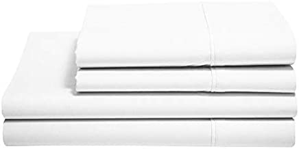 100% Cotton Sheets - Real 800 Thread Count Queen 4 Piece Bed Sheet Set - Soft & Smooth Hotel Luxury 4pc Sheet Set Solid 15 inches Deep Pocket (Queen, White)