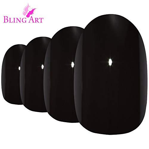 Faux Ongles Bling Art Noir Brillant Ovale 24 Moyen Faux bouts d'ongles acrylique