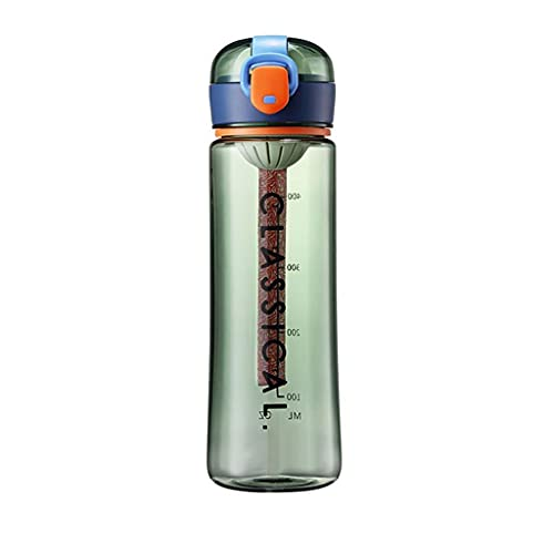 DWQ 2021 Botella de Agua de Deportes de Moda para Hombres/Mujeres, Botellas de Bebidas portátiles Transparentes con Escala de Capacidad, 500 ml / 16oz (Color : Green, tamaño : 500ml)