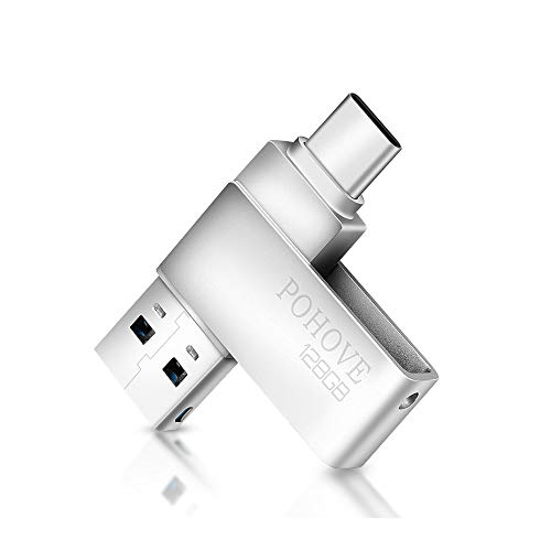 POHOVE Chiavetta USB 128gb Type C, 2 in 1 USB C 3.0 Pen Drive 128 GB Portatile Pennetta USB 128 Giga Tipo C Mini Flash Drive Per PC/MacBook/Tablet/Smartphone Huawei/Xiaomi/Oneplus (Argento)