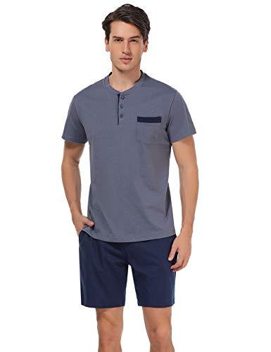 Aibrou Pijama Hombre Verano Corto de 100% Algodón Pijamas de Hombre Verano con Pantalón Talla Grande