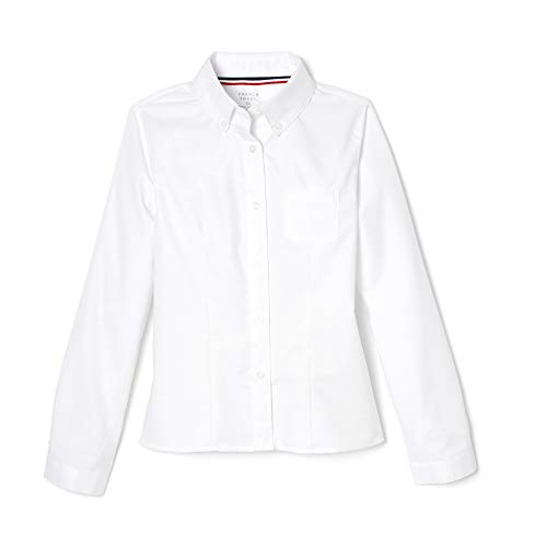 French Toast Girls' Long Sleeve Oxford Blouse, White, 8,Big Girls