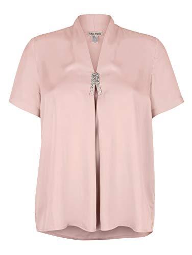 Alba Moda Damen Bluse Kurzarm in Rosé aus Viskose mit elegantem Strassbesatz