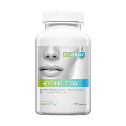 Vitabay L-Lysine 3000 • 100 vegane Kapseln • Zum Diätmanagement bei wiederkehrenden Herpes simplex Infektionen