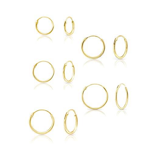 DTPsilver® 5 Paare KLEINE Creolen Ohrringe 925 Sterling Silber Gelb Vergoldet - Dicke 1.5 mm - Durchmesser 10, 12, 14, 16 und 18 mm