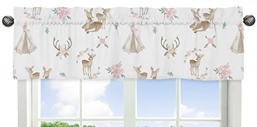 Sweet Jojo Designs Blush Pink, Mint Green and White Boho Window Treatment Valance for Woodland Deer Floral Collection