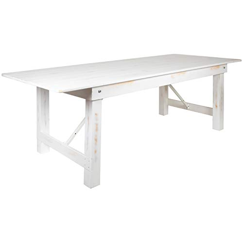Flash Furniture HERCULES Series 8' x 40' Rectangular Antique Rustic White Solid Pine Folding Farm Table
