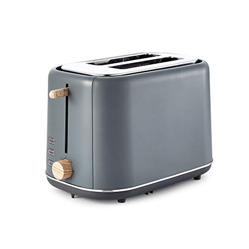 Tower Scandi T20027G 2-Slice Toaster with Adjustable Browning Control, 7 Toasting Functions, Cancel, Defrost and Reheating Settings, Stylish Scandinavian Design, 800 W, Grey with Wood Accents