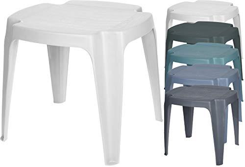 Fair-Shopping Hocker Sitzhocker Gartenhocker Beistelltisch stapelbar Kunststoff 43x38x38cm Variation (Weiß)