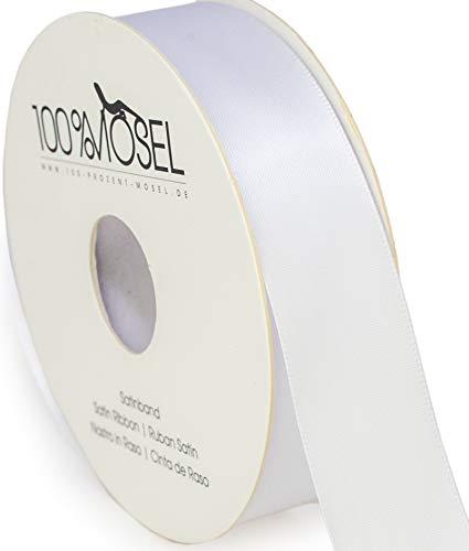 100%Mosel Cinta de satén blanco (25 mm x 25 m), cinta de regalo mate brillante, elegante para decorar y manualidades, envolver regalos especiales para bodas, bautizos, etc.