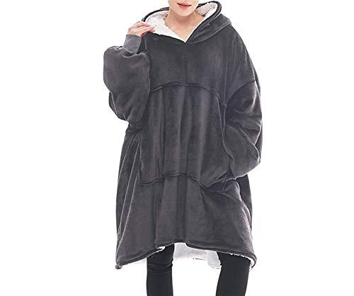 HSY SHOP Manta Ultra Suave Sherpa Fleece Cálido Acogedor Cómodo Gran tamaño Usable Sudadera Gigante para Mujeres Niñas Adultos Hombres Niños Niños Bolsillo Grande Talla única (Color : Gray)