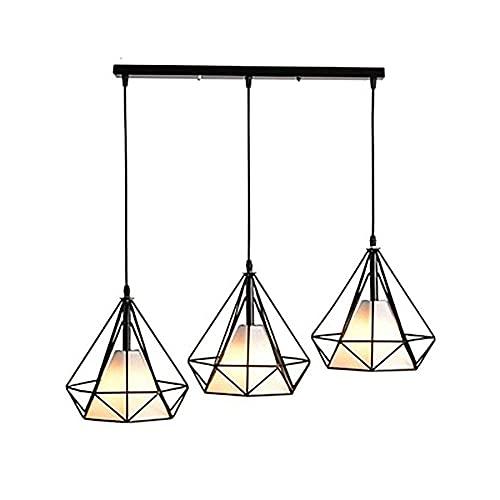 JJDSN Ljuskronor Modernt hängande Ing-armatur Justerbart järn Industriellt hängande armatur för köksö Sovrumshallen, svart, 3 lampor - lång tallrik