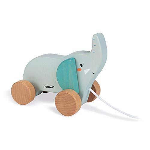 Janod- Elefante Madera Arrastre-Juguetes de estímulo y Primera Infancia-Desarrolla la motricidad y la imaginación-Colaboración con WWF-Certificado FSC-A Partir de 1año (JURATOYS J08609)