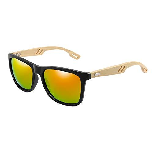 ShZyywrl Gafas De Sol De Moda Unisex Gafas De Sol De Madera De Bambú para Hombre, Gafas De Sol Cuadradas para Mujer, con Revestimiento De Espejo, Gafas De Sol,