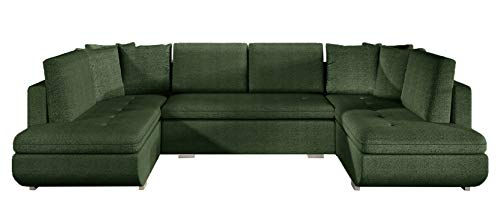 Large U-SHAPED SOFA BED Arden-U Seater Sleeping Function Storage Modern Couch 367cm 12' (Green (malmo 37))