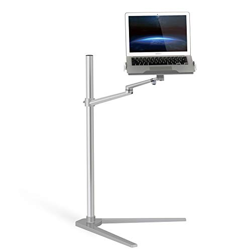Thingy Club 3 in 1 360º Rotating Height Adjustable Laptop Stand/Ipad Pro 12.9'/iPAD Air/iPAD mini/other 4'-14' Tablet and Smartphone - Bed floor Stand for Laptop (12-17 inch) (Silver)