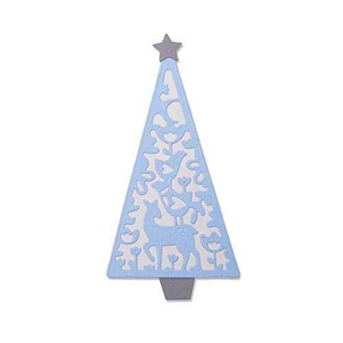 Sizzix Thinlits Die Set 663442 Folk Christmas Tree by Lisa Jones, 4 Pack, Multi-Colour, One Size