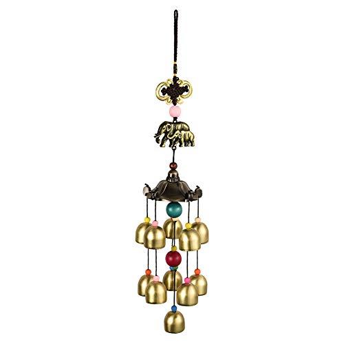 Demine Windspiel für den Außenbereich, Elefant, klassischer Vintage-China-Stil, hängende Dekoration, 11 Glocken
