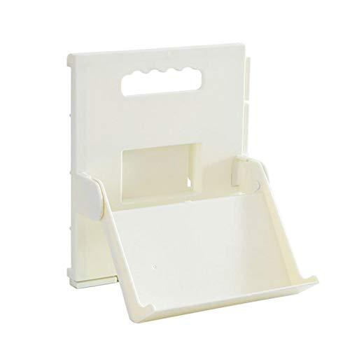 Amusingtao Zapatero autoadhesivo para baño, hogar, puerta de almacenamiento, soporte plegable, organizador de armario de plástico ABS montado en la pared (blanco)