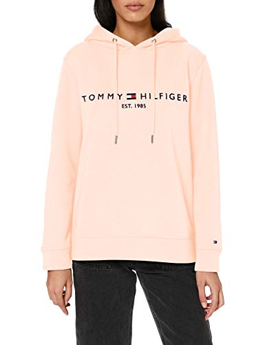 Tommy Hilfiger Damen Th ESS Hilfiger Hoodie Ls Pullover, Orange (Faded Coral), X-Large