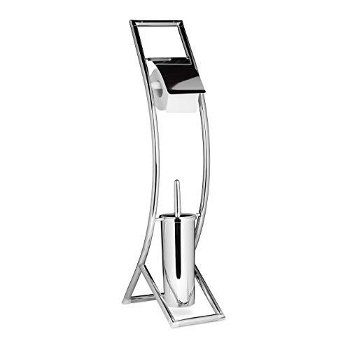 Relaxdays WC Garnitur CURVY HBT: 81 x 17 x 30 cm Toilettenbürstenhalter aus Metall in Edelstahl-Optik mit Toilettenpapierhalter und Klobürste als Klopapierhalter freistehend WC Bürstengarnitur, silber