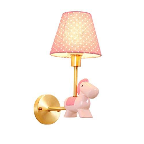 OUPPENG europea moderna-Style Lampada da parete - for bambini in camera rame creativo dolci ragazzi e ragazze in camera fumetto luci Lampada da parete (Colore: Rosa, Dimensione: 16x33cm) Lampadari can