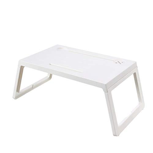 FEANG FurnitureR Mesa Plegable for Laptop portátil Plegable de plástico Study Desk Escritorio de la computadora for la Cama del sofá Desayuno Bandeja de la Cama Mesa de Servir Hogar (Color : White)