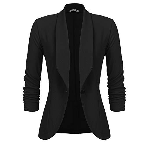 UNibelle Blazer Donna Nero Elegante Casual Giacche da Abito Slim Fit Manica 3/4 Lavoro Ufficio M