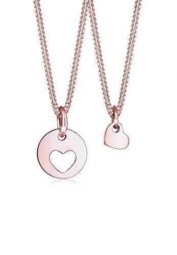 Elli Halskette Damen Cut-Out Herz Mutter Kind Set in 925 Sterling Silber rosé