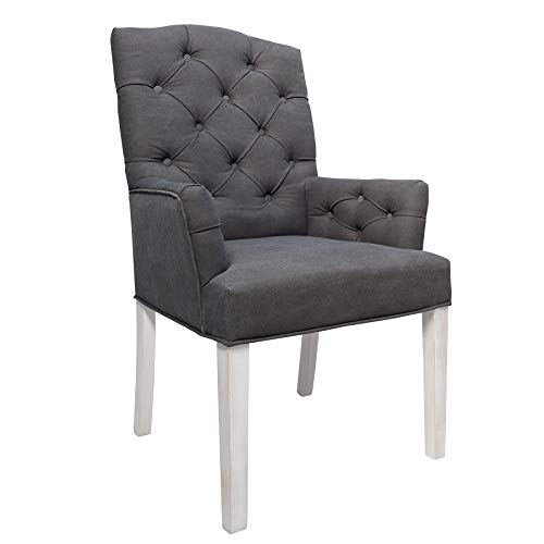 Invicta Interior Leinenstuhl Chesterfield grau mit Chesterfiled Steppung Shabby Look Esszimmerstuhl Stuhl mit Armlehnen