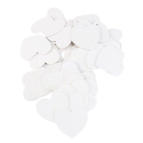 NUOLUX 100pcs Herzen Kraft Papier Geschenkanhänger für Hochzeit Gunst DIY Gepäck Preis Label (weiß)