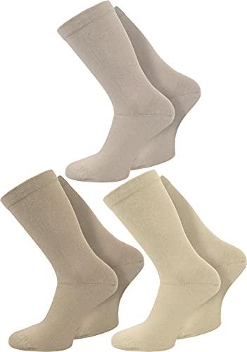 normani 3 Paar spezielle Komfort-Socken ohne Gummi für Diabetiker oder Problemfüße (z.B. Wasserbeine/Elefantenfüße) Farbe Beige-Sortiert Größe 43-46