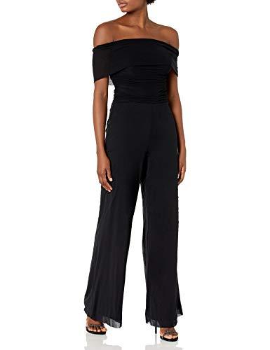Eliza J Women's Off The Shoulder MESH Jumpsuit Dress, Black, 10