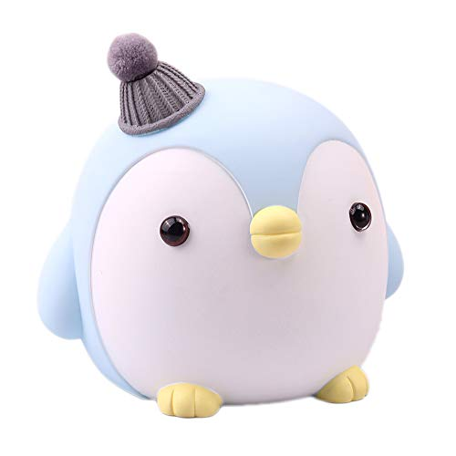 SAYTAY Kids Piggy Bank, Cute Cartoon Penguin Anti-Fall Coin Bank, for Children Adult Gift Or As Home Decoration (Blue)