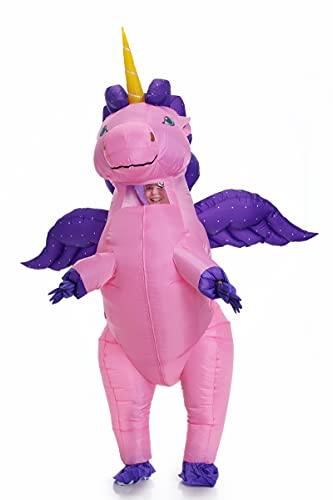 JYZCOS Einhorn Aufblasbares Kostüm für Erwachsene Pony mit Flügeln Halloween Anzug, Flying Pink Large, Einheitsgröße