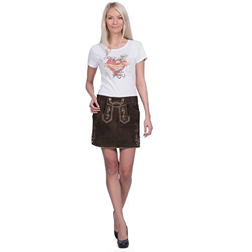 Donna noorsk in pelle rock in velluto in pelle di capra in antikbraun dimensioni disponibili da 34a 46 Marrone antico 46