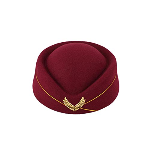 PRETYZOOM Sombrero de Azafata Gorro de Lana Sombrero de Asistente de Vuelo Fascinador de Lgrima Sombrero de Cctel para Actuacin Musical Accesorios de Disfraz de Cosplay Talla M (Rojo