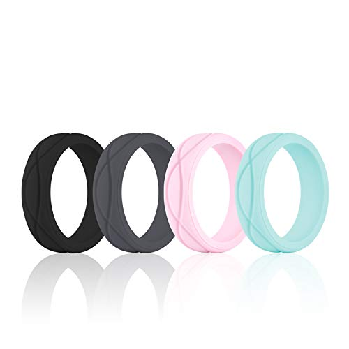 SANXIULY Womens Silicone Ring&Rubber Wedding Bands for Workout and Sports Width...