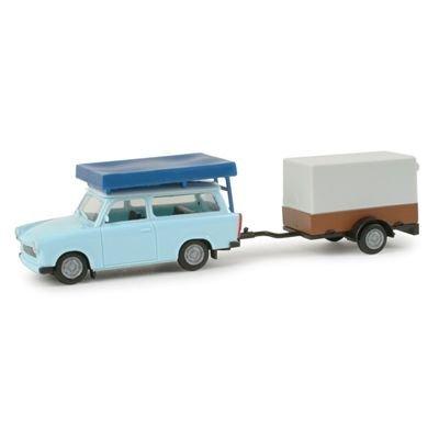 024280 - Herpa - Trabant 601 Universal mit Dachzelt und PKW Anhänger mit Plane