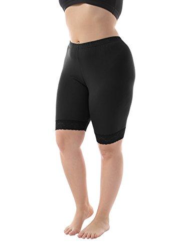 ZERDOCEAN Women's Plus Size Short Leggings with Lace Trim Black 3X Shorts