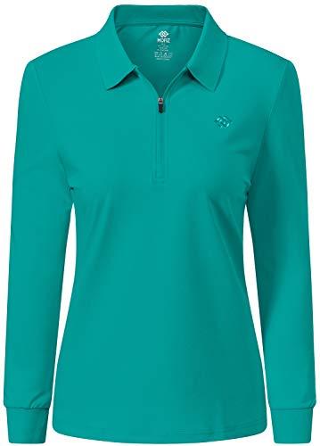 JINSHI Half Zip Sweatshirts Women Pullover Moisture Wicking Golf Wear Long Sleeve Riding Shirts for Women Green M
