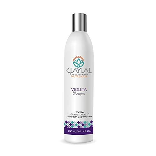 Claylal Professional - Shampoo Matizador Violeta con Keratina y Proteínas, Abrillanta y Platea las Canas, Shampoo Matizante para Cabello Neutralizador de Canas (300ml)