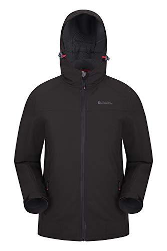 Mountain Warehouse Veste Softshell Reykjavik Hommes - Manteau résistant à l'eau, Ajustement réglable, protège-Menton, Manteau Respirant - Marche, Usag