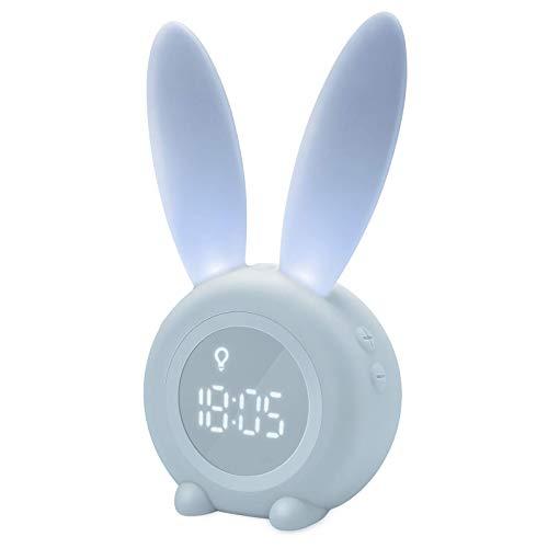 Homealexa Kinder Lichtwecker Cute Rabbit Wake Up Kinderwecker Creative Nachttischlampe Snooze-Funktion, zeitgesteuertes Nachtlicht, Kindertagesgeschenk für Kinder, Mädchen (Blau)