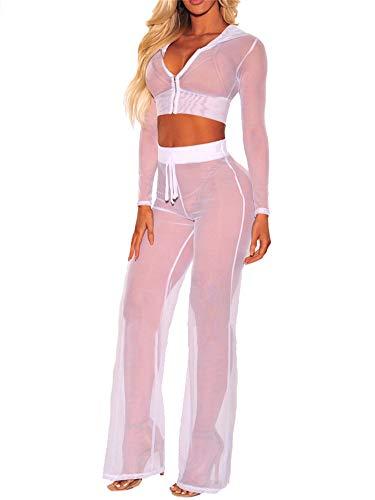 2Pcs Bikini Damen Durchsichtiges Mesh Hoodie Langarm Crop Tops mit Reißverschluss High Waist Hoher Elastischer Bund Weites Bein Lange Hose Sexy Badeanzug Bikini Cover Up Strand Outfits (Weiß , XL )