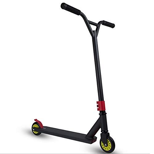 Paelf Extreme Scooter - Rueda de Aluminio para Coche con 2 Ruedas para monopatín, Alta Elasticidad, Rueda de Poliuretano, Pedal portátil, Barra Fija de 360 Grados para niños, Adultos y niños, Negro