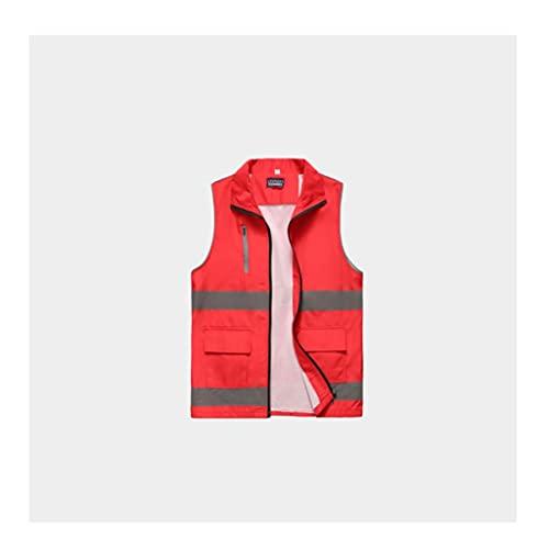swq Ropa Reflectante, Chaleco de Seguridad de Alto Brillo Fuerte, Bolsillos multifuncionales de Gran Capacidad, Ropa de Trabajo Unisex (Color : Red, tamaño : 180)
