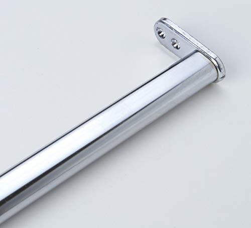 1 tubo armadio, attaccapanni, asta appendiabiti, metallo, cromato lucido, ovale, lunghezza complessiva 600 – 900 mm, diametro 22 x 15 mm